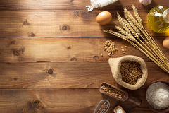 Bakery products on wood. En background stock photography