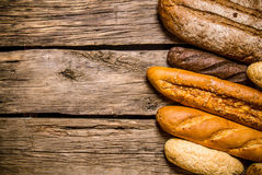 Bakery products on wooden background. Free space for text . Royalty Free Stock Photography