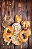 Bakery products on wooden boards Stock Photos
