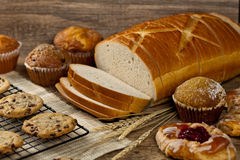 Bakery products. On wooden table. Selective focus royalty free stock photo