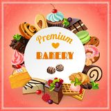 Bakery Promo Poster. Premium bakery promo poster with different sweets cakes and pastry vector illustration royalty free illustration