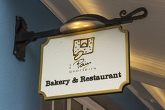 Bakery and restaurant sign at the prestigious Kildare Village retail park in County Kildare Ireland. 15 March 2018 A Bakery and restaurant sign at the Royalty Free Stock Image