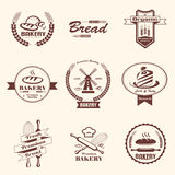 Bakery retro emblem and labels collection, design elemnts and te Royalty Free Stock Photo