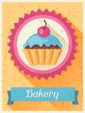 Bakery retro poster background design in flat Stock Images