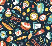 Bakery retro seamless pattern with dots and floral elements. Vector illustration. Bakery retro seamless pattern with dots and floral elements. Vector cooking Royalty Free Stock Photo