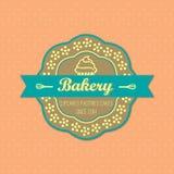 Bakery retro style label. On retro polka dots background vector Stock Photos