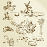Bakery, rural landscape, bread. Hand drawn set Royalty Free Stock Image
