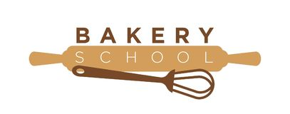 Bakery school cooking class vector icon template of whisk and rolling pin stock illustration