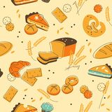 Bakery seamless background Stock Photo