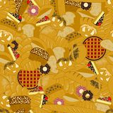Bakery seamless pattern. Different types of bread products vector illustration