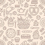 Bakery seamless pattern, food vector background of beige color. Confectionery products thin line icons - cake, croissant Royalty Free Stock Photography