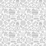 Bakery seamless pattern, food vector background of black white color. Confectionery products thin line icons - cake. Croissant, muffin, pastry, cupcake, pie stock illustration
