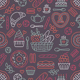 Bakery seamless pattern, food vector background of dark red color. Confectionery products thin line icons - cake Royalty Free Stock Images