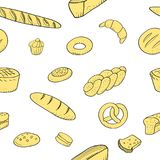 Bakery seamless pattern hand drawn pastry baguette cookies. Vector illustration Royalty Free Stock Images