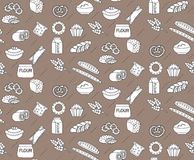 Bakery seamless pattern. Line, outline, doodle style. Bread and buns texture. Flour products endless background Stock Photos