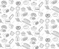 Bakery seamless pattern. Line, outline, doodle style. Bread and buns texture. Flour products endless background. Bread and pastry backdrop. Vector illustration Royalty Free Stock Photos