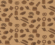 Bakery seamless pattern. Line, outline, doodle style. Bread and buns texture. Flour products endless background Royalty Free Stock Photo
