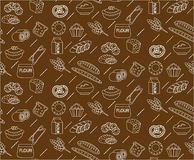 Bakery seamless pattern. Line, outline, doodle style. Bread and buns texture. Flour products endless background Royalty Free Stock Photos