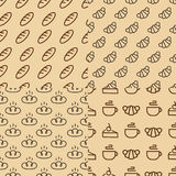 Bakery seamless pattern set consisting of bread, croissant, cup. Of tea, cake line style on yellow background for loaf store, cafe, cupcake firm, coffee shop stock illustration