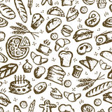 Bakery seamless pattern, sketch background for Stock Images