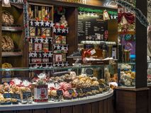 Bakery with selection of snowballs in Rothenburg ob der Tauber, Germany royalty free stock image
