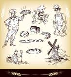 Bakery Set. Vector Hand Drawn Bakery Set stock illustration