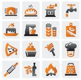 Bakery set. Vector color bakery icons set on gray Stock Photo