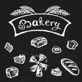 Bakery set,chalk style hand drawn design. Vector illustration vector illustration