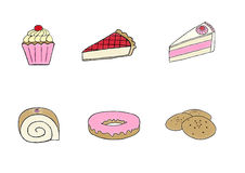 Bakery Set. Cupcake, strawberry pie, butter cake, cake roll, doughnut and cookies Royalty Free Stock Images