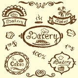 Bakery set elements chalkboard, vector. Stock Photography