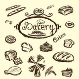 Bakery set elements chalkboard, vector. Stock Photo