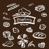 Bakery set elements chalkboard, vector. Stock Image