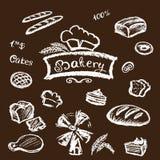 Bakery set elements chalkboard, vector. Stock Image