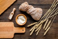 Bakery set with fresh wheaten bread on table rystic background top view mock-up Stock Photos