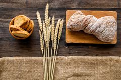 Bakery set with fresh wheaten bread on table rystic background top view Royalty Free Stock Photo
