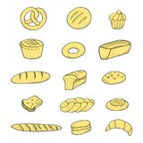 Bakery set hand drawn pastry baguette cookies. Vector illustration Royalty Free Stock Photo