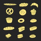 Bakery set hand drawn pastry baguette cookies. Vector illustration Stock Photos