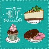 Bakery set in handmade cartoon style Royalty Free Stock Images