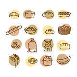 Bakery set of icons. Characters of food and bread. Windmill and Royalty Free Stock Photos