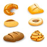 Bakery Set Isolated. Bakery bread and pastry set with donut chocolate bagel and croissant isolated vector illustration vector illustration