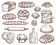 Bakery set with a lot of types fresh bread. Images for bakeshop or bakehouse. Cooking utensils for baking and wheat. Fresh pastry baguette, croissant, loaf royalty free illustration