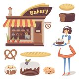 Bakery set with pastry store building, baked goods, girl baker or waitress character. Cartoon flat food. Vector isolated. Bakery set with pastry store building Stock Photos