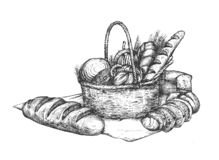 Bakery set for shop and farmers market stock illustration