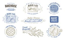 Bakery set of vector monochrome labels, badges, emblems. Hand drawn retro illustrations. Logo design templates. Can be stock illustration