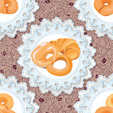 Bakery set. Vector seamless pattern. Food background. Stock Photo