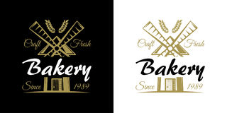 Bakery set of vector vintage emblems, labels, badges and logos with golden wheat and windmill. Company slogan Stock Image