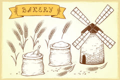 Bakery set. Vintage hand drawn bakery set with mill and wheat ears stock illustration