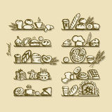 Bakery on shelves, sketch for your design Royalty Free Stock Images