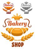 Bakery shop badge or label. With a freshly baked croissant and ear of wheat with a crown and text Bakery Shop royalty free illustration