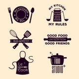 Bakery shop badges and cooking labels design classic kitchen elements set vector illustration. stock illustration